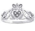 White Gold Claddagh Ring with Diamonds and Trinity Band