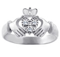 The White Heart Gold Claddagh Ring with Diamonds