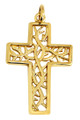 Large Gaelic Celtic Vine Gold Cross Pendant