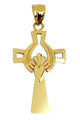 Gold Cross with Claddagh Pendant