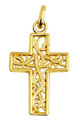 Celtic Gaelic Vine Gold Cross Pendant
