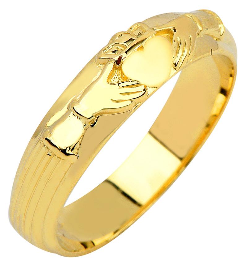 Yellow Gold Men 39 S Claddagh Wedding Ring Band EBay