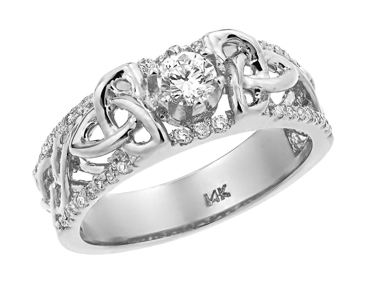 White Gold Celtic Trinity Elegance Diamond Wedding Ring