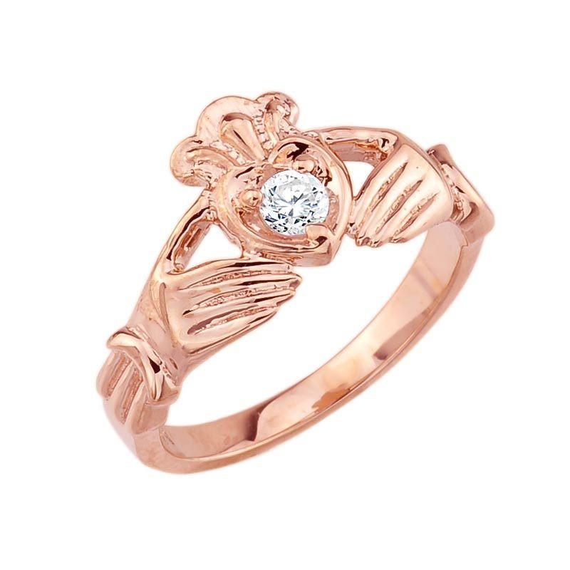 14k rose gold diamond claddagh ring. Black Bedroom Furniture Sets. Home Design Ideas