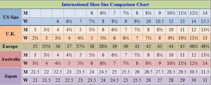 Womens shoes size chart | Camping outdoor gear and equipment - reviews