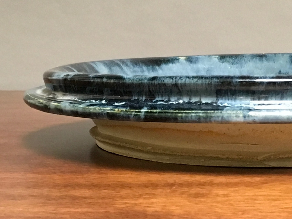 "Blue Wall Platter Inspired by Historical Artists, Nuka Coblat, Roughly 14.5"" diameter by 2.5"" tall (ST352)"
