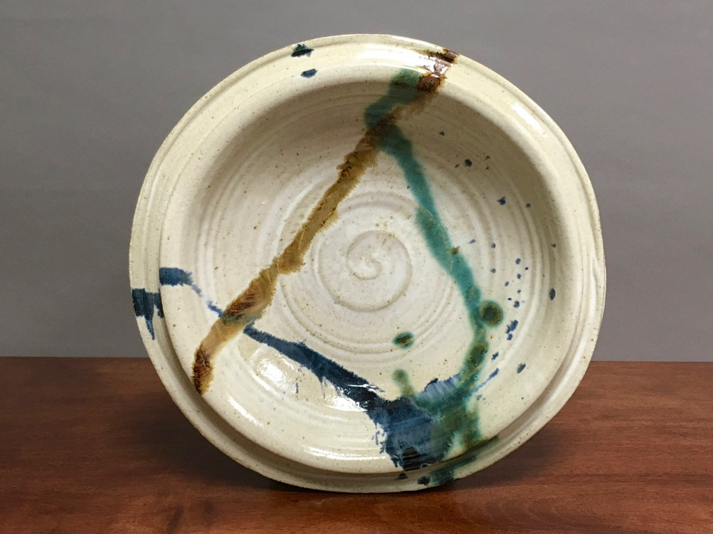 """Unique Wall Platter Inspired by Historical Artists, Nuka with Copper, Cobalt and Iron Streaks, Roughly 16.5"""" diameter by 3.5"""" tall (ST349)"""