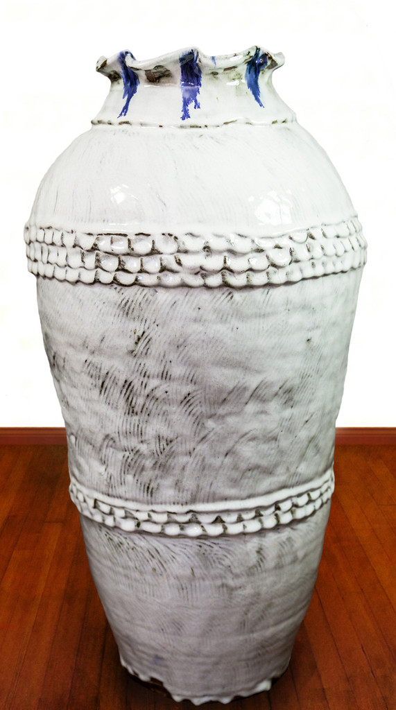 Glossy, White Nuka Jar with Cobalt Drips, Roughly 30 Inches by 15 Inches Wide: $13,995