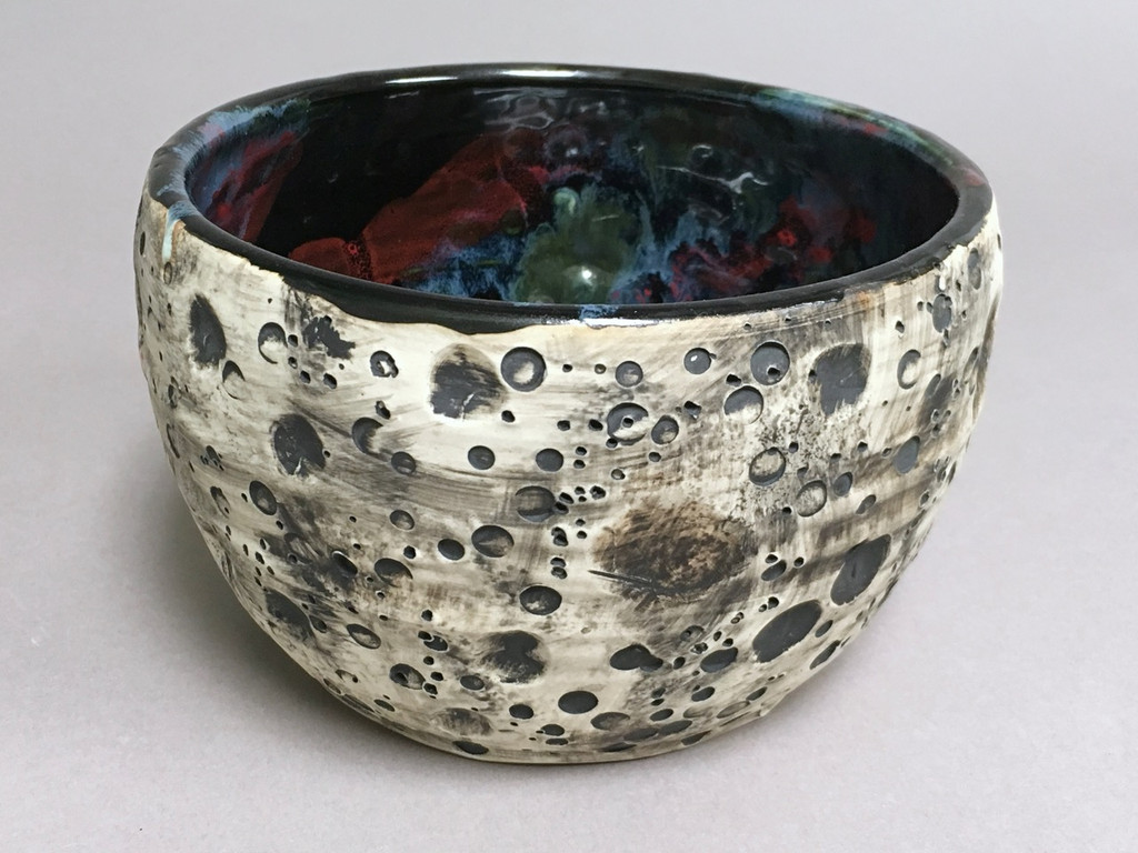 Lunar/Cosmic Small Serving Bowl, roughly 4.5 inches tall by 7 inches wide, Inspired by a Lunar Surface with a Star-Formation Nebula (SP265)