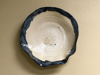 "Stoneware Wall Platter Inspired by Historical Artists, Thin Nuka Coblat Glaze, Roughly 20"" diameter by 4-5"" tall (ST372)"