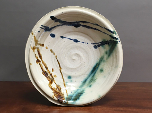 "Porcelain Wall Platter Inspired by Historical Artists, Nuka with Copper, Cobalt and Iron Streaks, Roughly 15"" diameter by 3"" tall (ST373)"