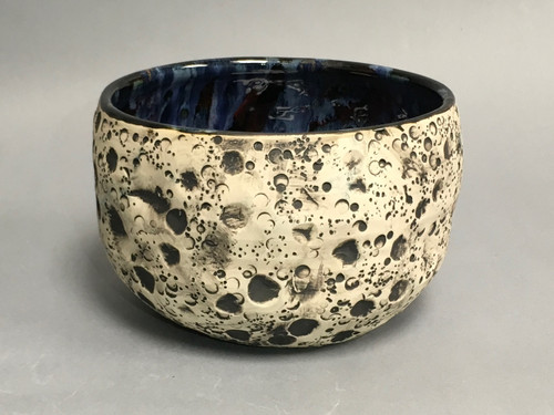 Lunar/Cosmic Serving Bowl with a slight Oval, roughly 5 inches tall by 6.5 inches wide, Inspired by a Lunar Surface with a planetary nebula (SK775)