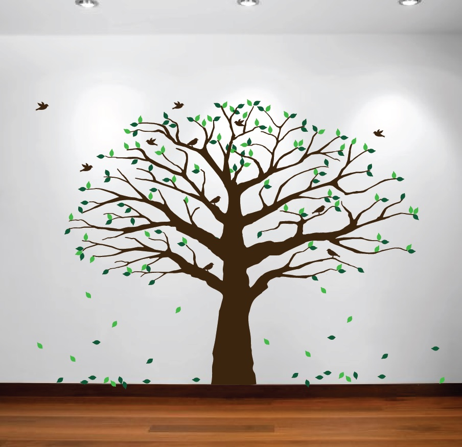 1233 Large Wall Family Tree Decal Falling Leaves.