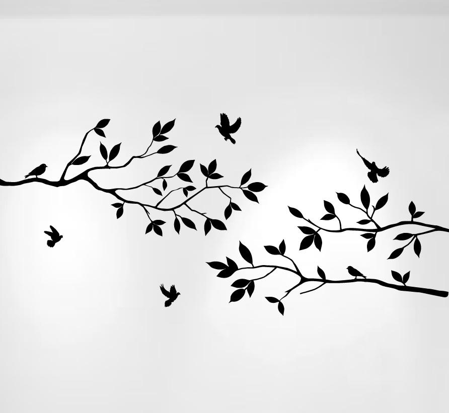 1234 Tree Brach Decals With Birds Black