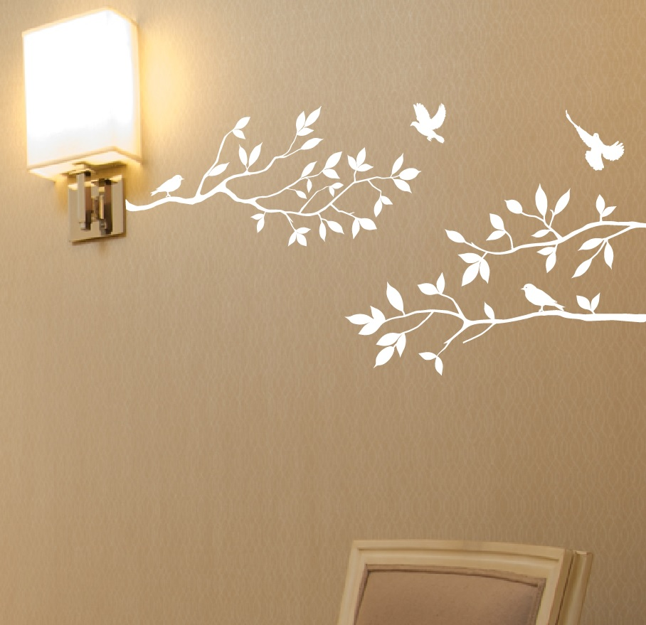 1234-white.jpg & Tree Branches Wall Decal with Birds Vinyl Sticker Nursery Leaves 40 ...