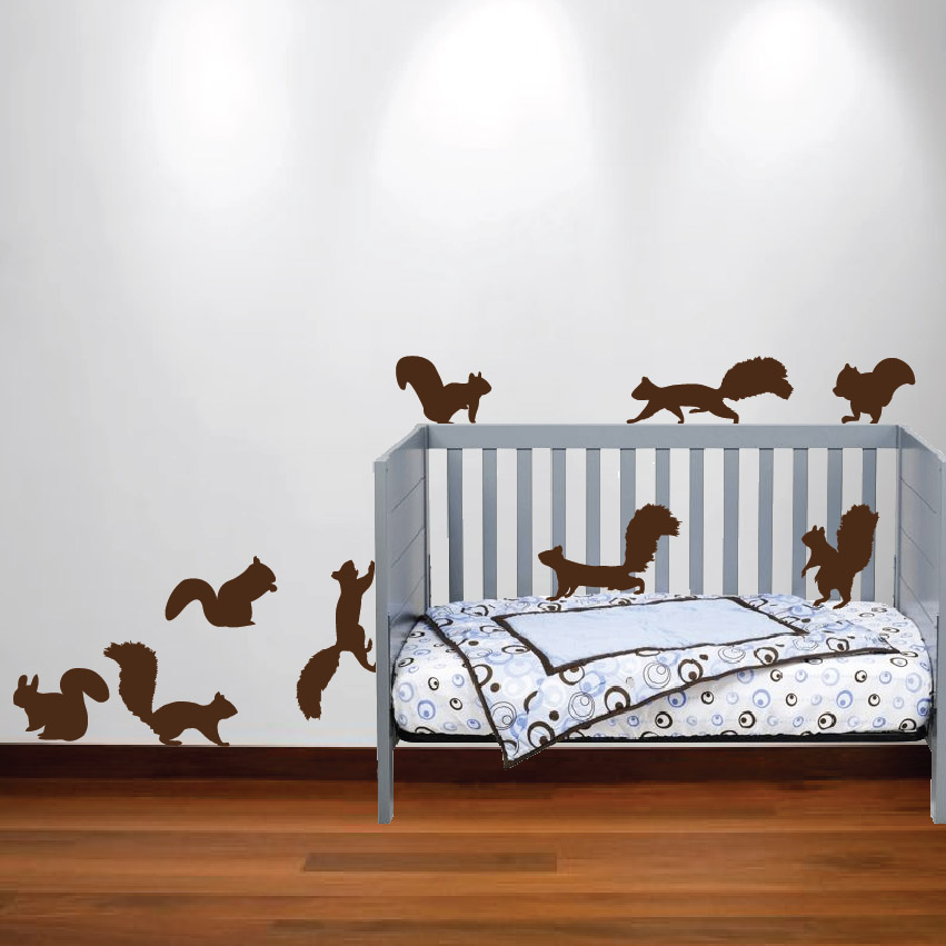Squirrel Wall Decal Nursery Sticker Set InnovativeStencils - Wall decals for nursery
