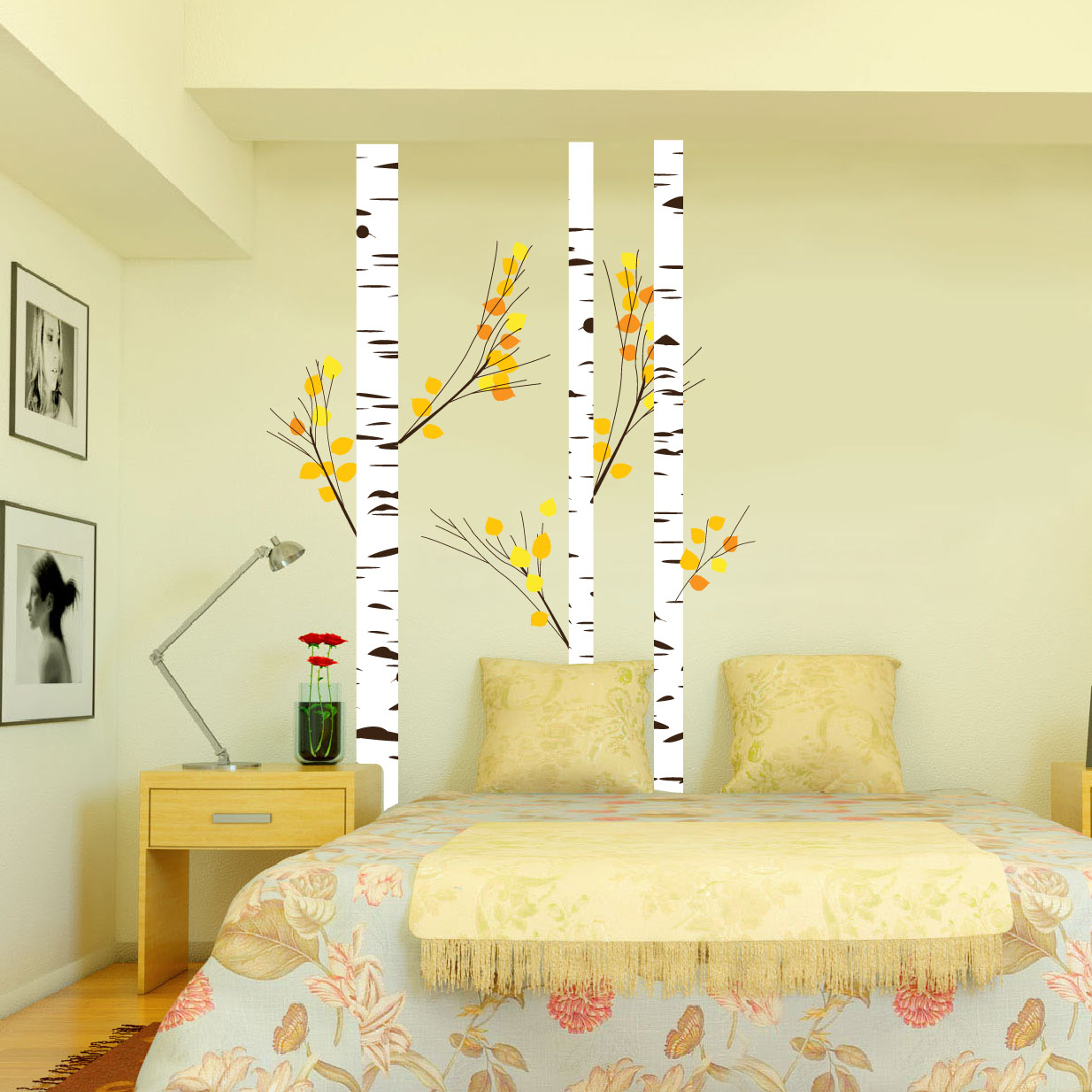 Birch Tree Forest Set Vinyl Wall Decal Realistic Leaves - Yellow wall decals