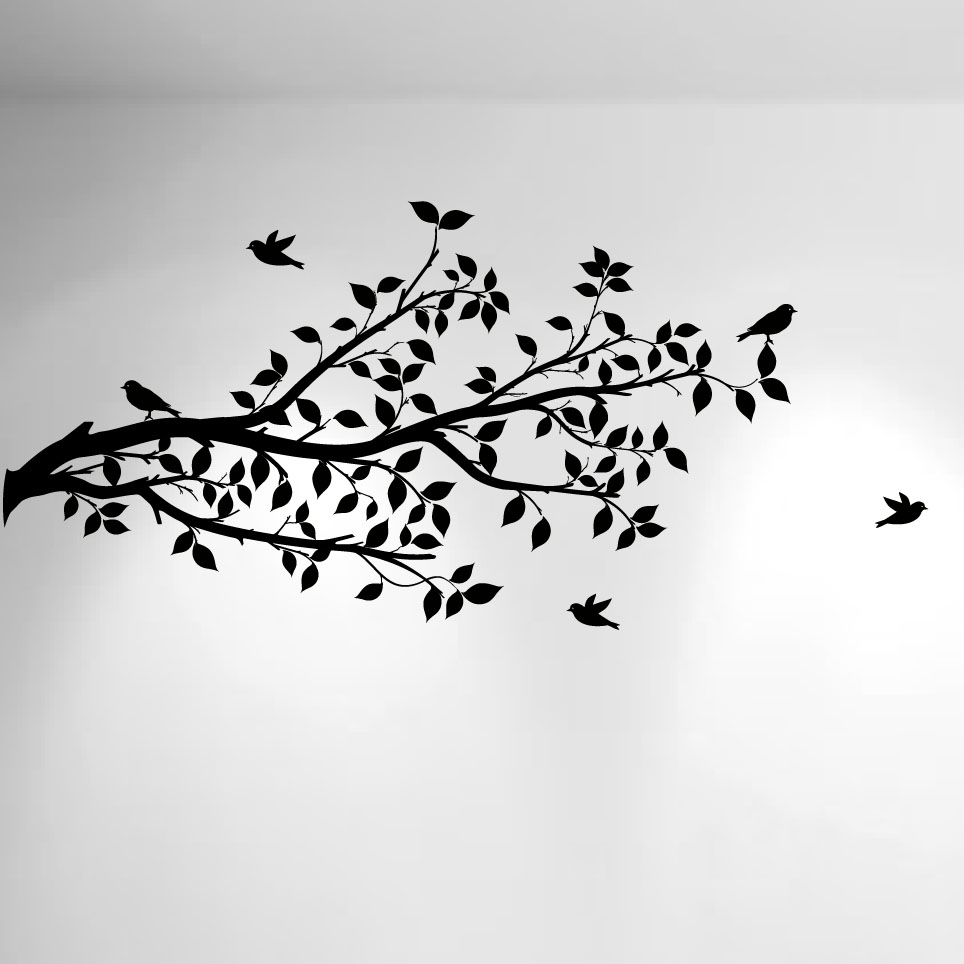1296 Tree Branch Wall Decal With Birds Black.