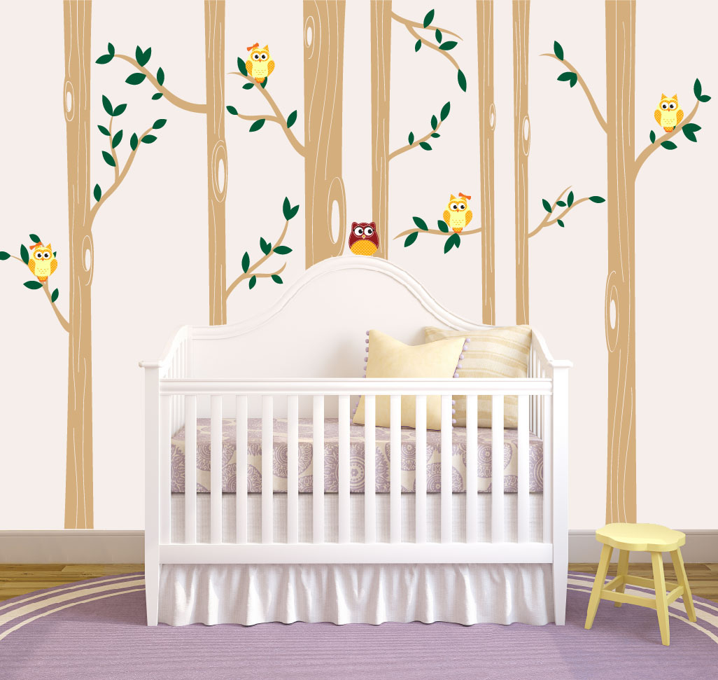 Birch Tree Forest Set Vinyl Wall Decal Owls Nursery - Wall decals for nursery