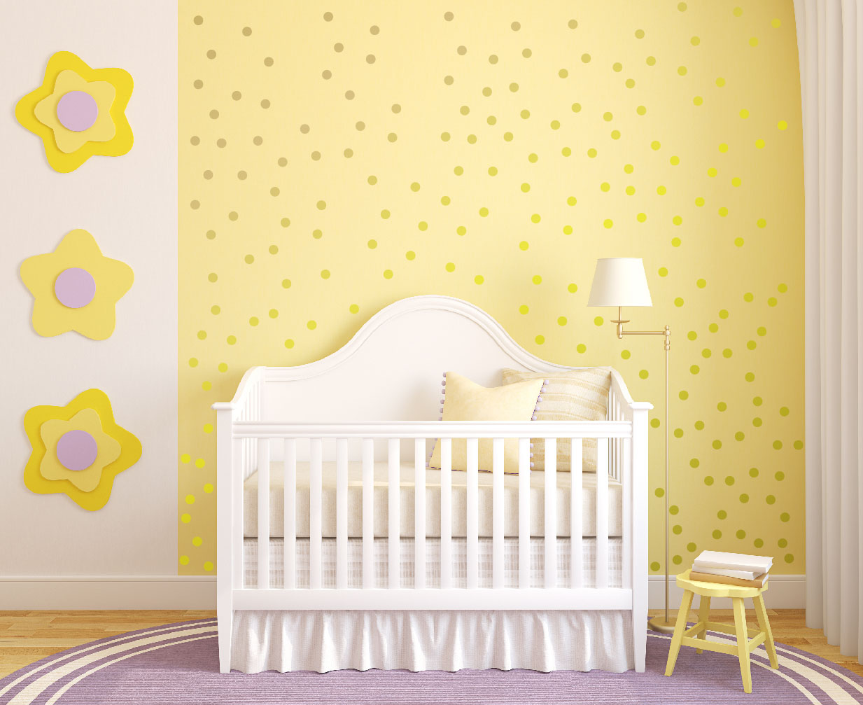 Polka Dots Peel And Stick Wall Decals  InnovativeStencils - Yellow wall decals