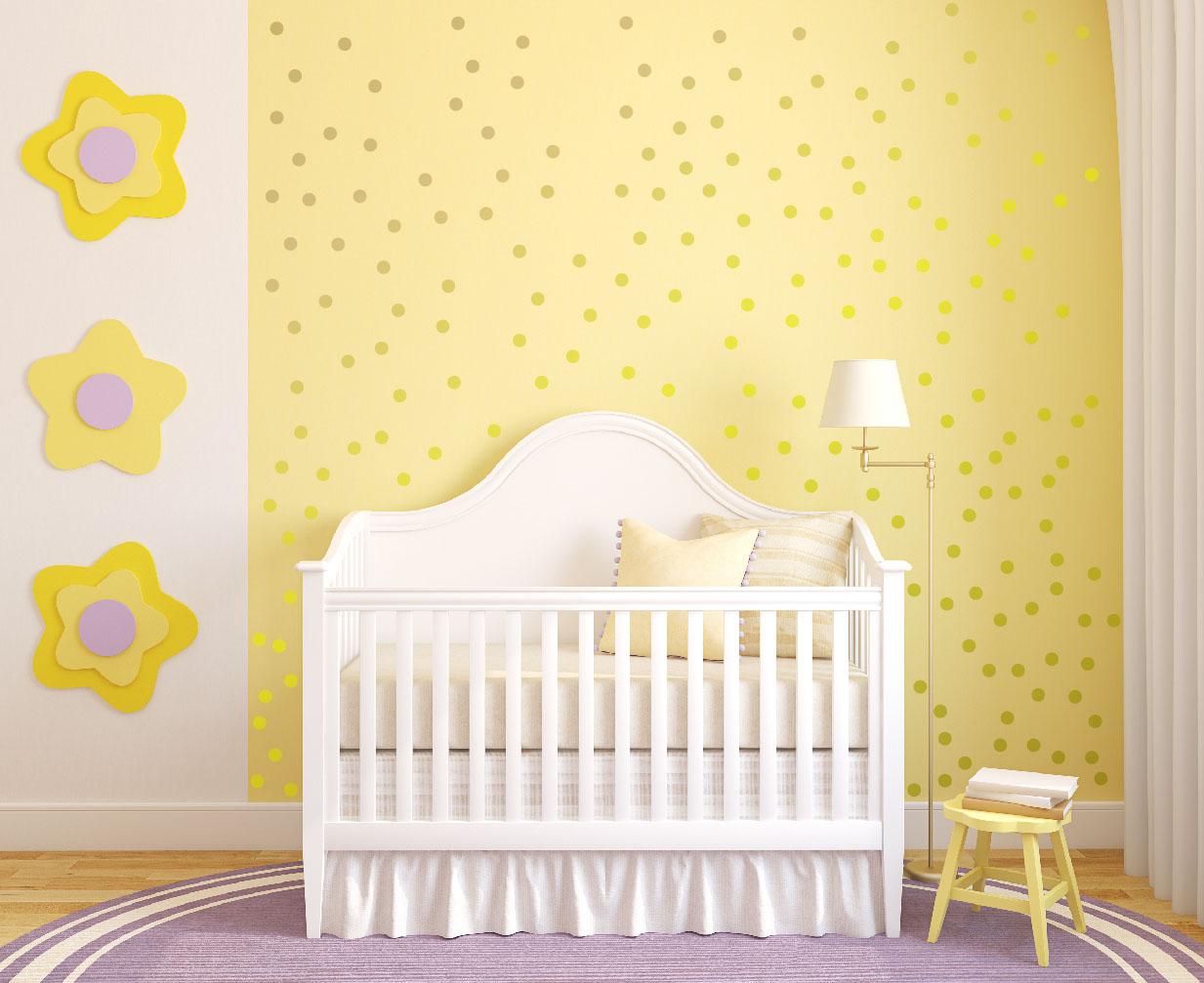 1326 Gold Polka Dots Wall Decal Baby Part 70
