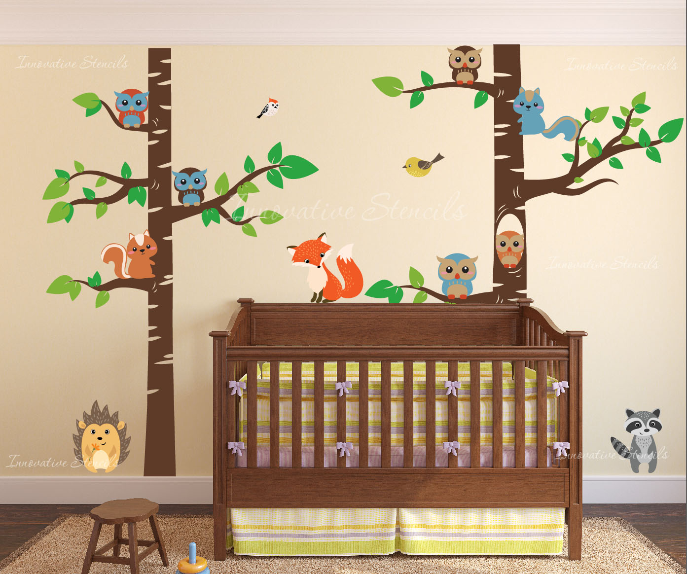 Birch Tree Forest Set Vinyl Wall Nursery Decal With Owls