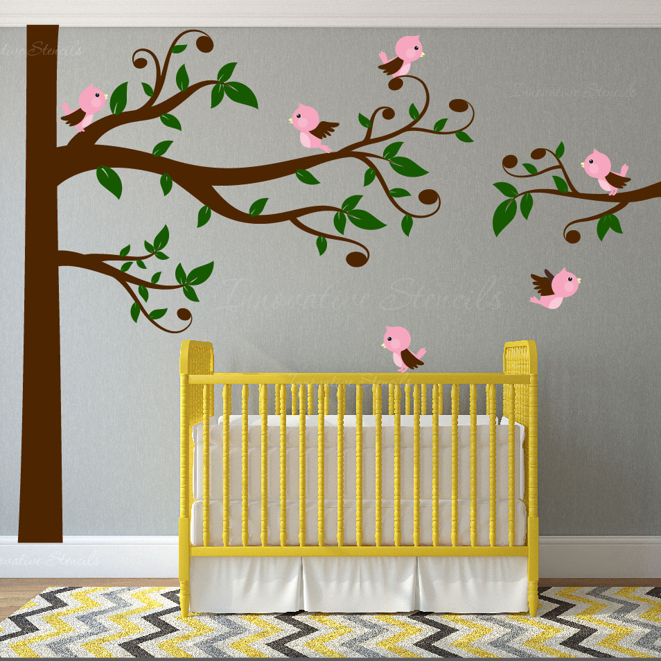 Swirly Tree Nursery Wall Decal Birds #1329 - InnovativeStencils
