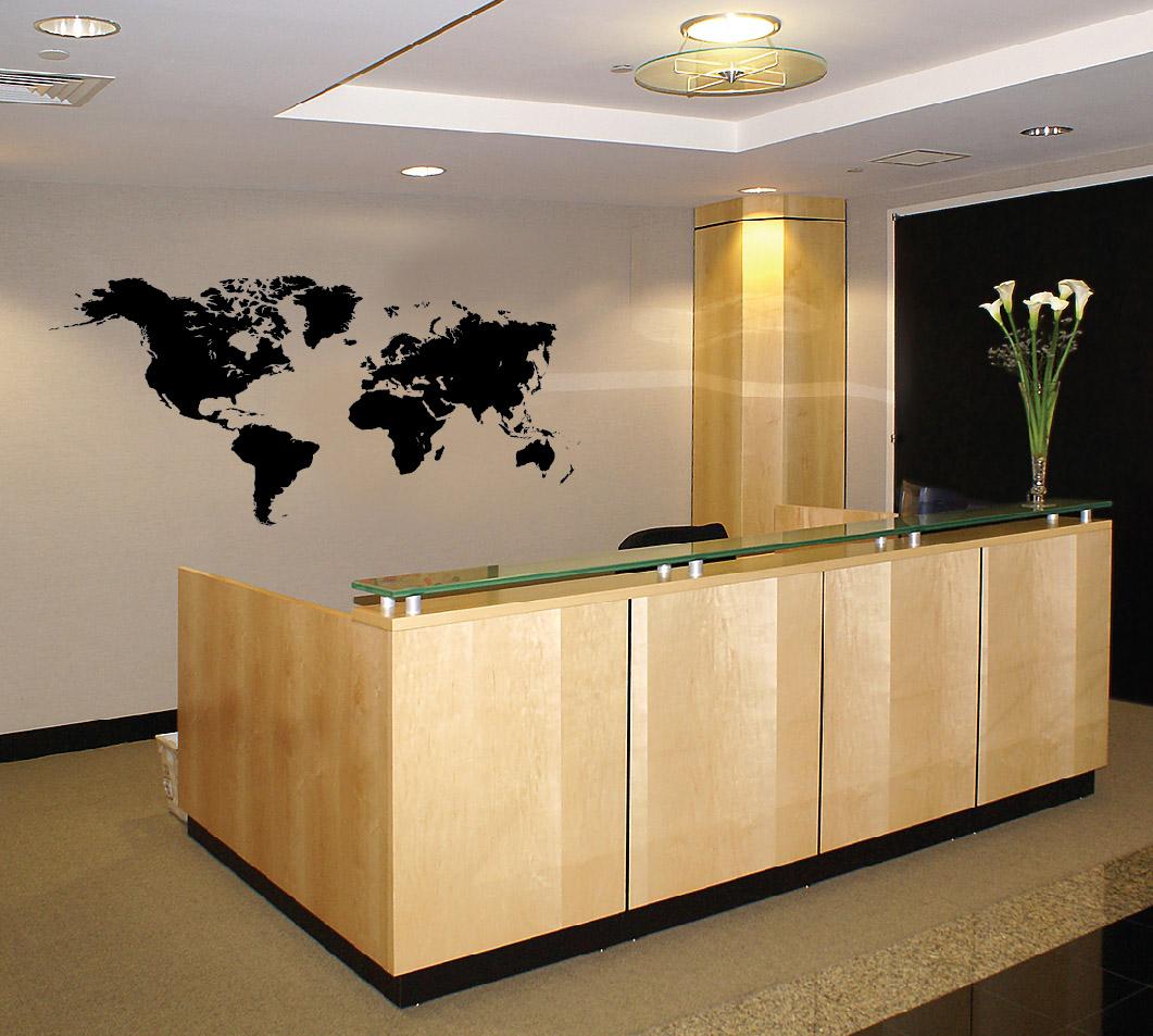 1601 World Map Atlas Wall Vinyl Decal Reception.