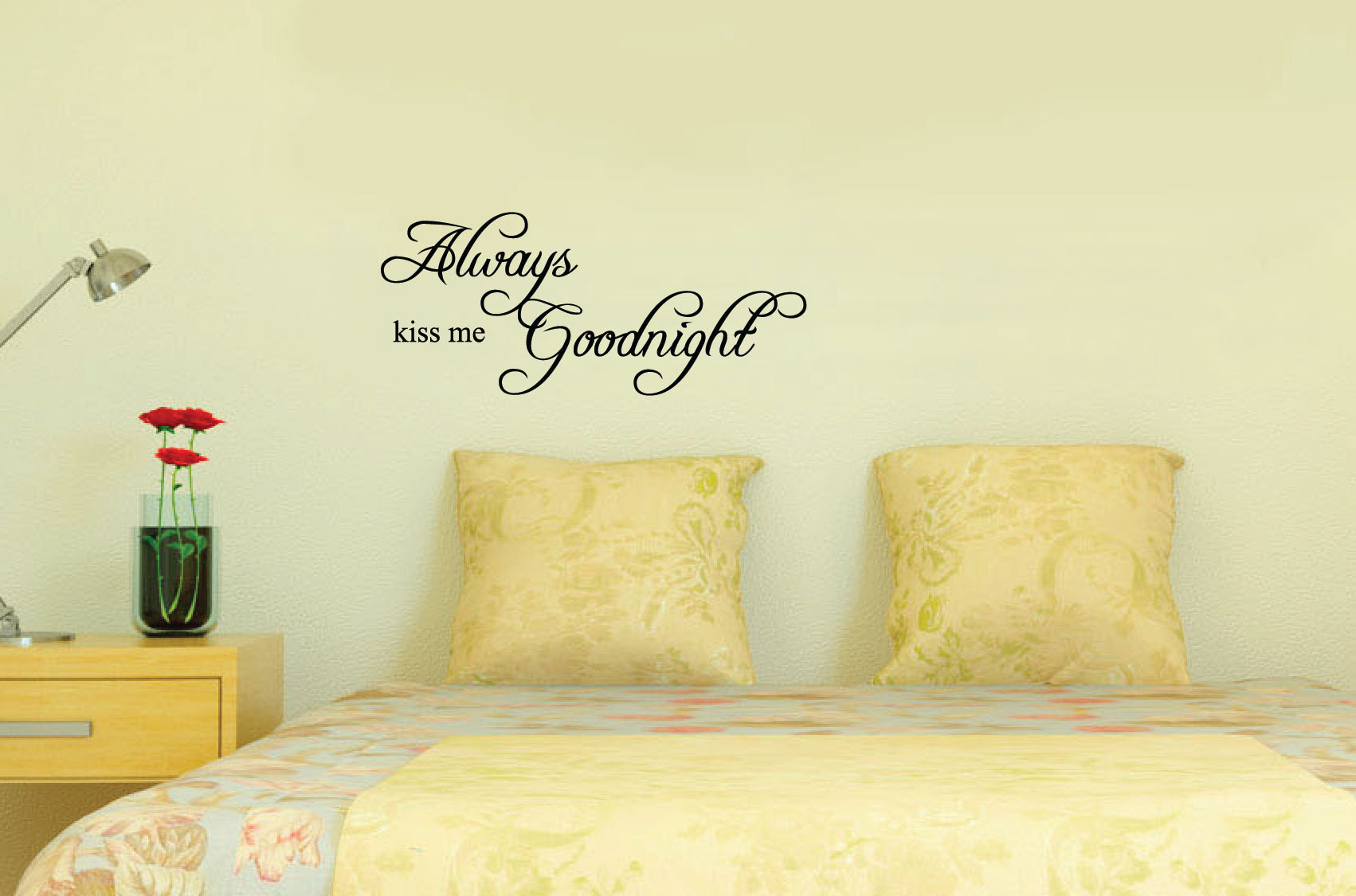 Always Kiss Me Goodnight Quote Decal Art Wall Bedroom