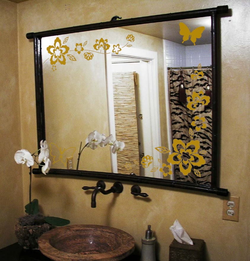 Bathroom mirror floral butterfly decal 1141 jpg