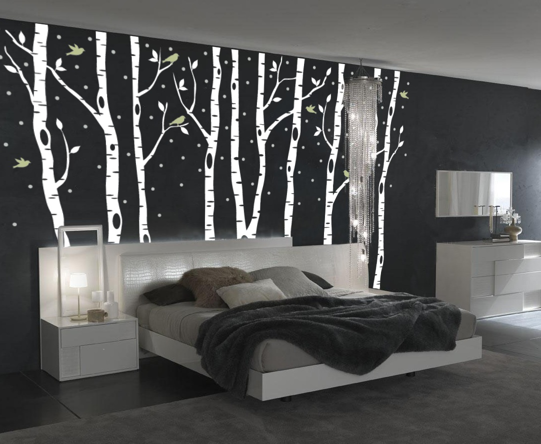 Attractive Birch Tree Forest Decal With Snow And Birds