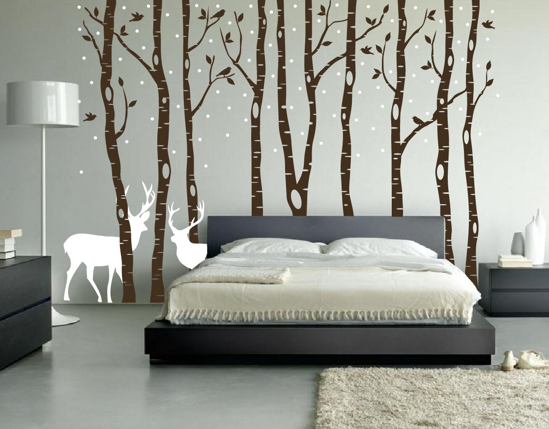 Birch tree winter forest vinyl wall decal for Winter bedroom