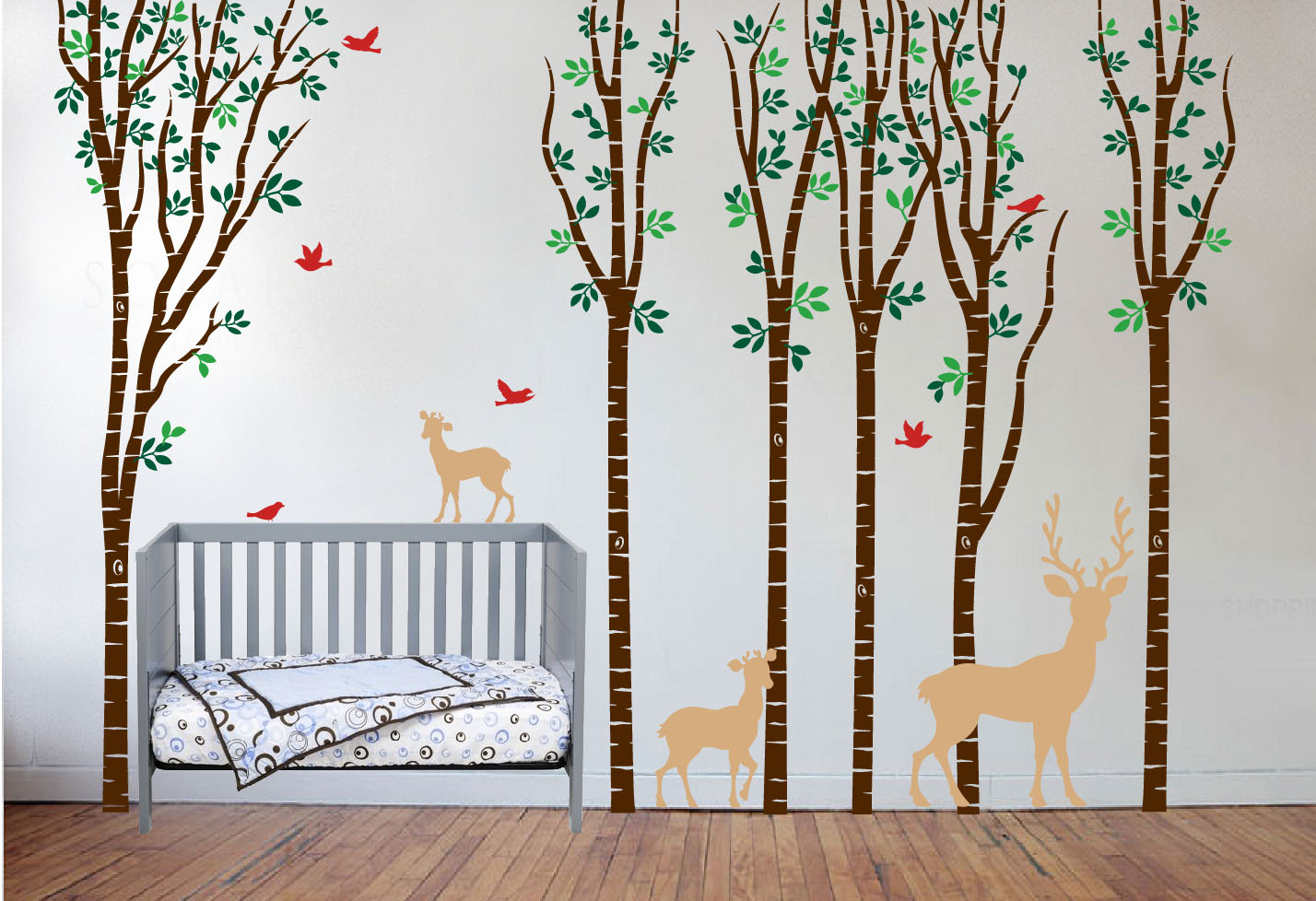 Birch tree forest set vinyl nursery wall decal deer 1264 birch tree nursery deer set birds brown crib amipublicfo Choice Image