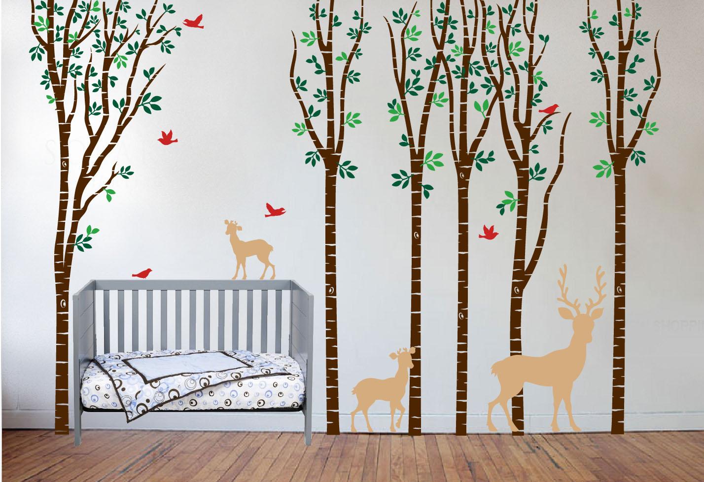 Captivating Birch Tree Nursery Deer Set Birds Brown Crib.