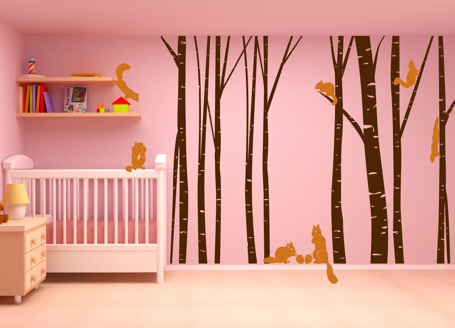 Birch Tree Forest Set Vinyl Wall Decal Nursert Art Squirrels - Vinyl wall decals birch tree