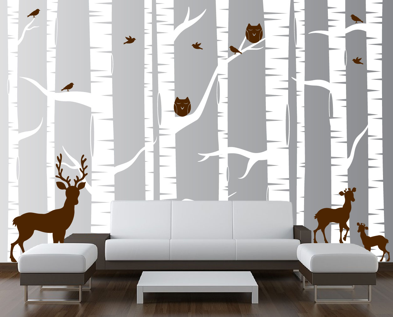 Birch tree forest set vinyl wall decal owls deer 1323 birch tree wall decal white woodland 1323g amipublicfo Choice Image