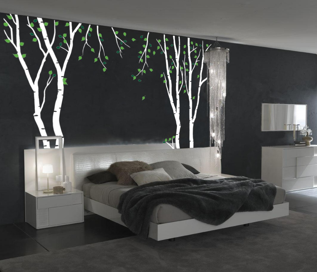 Birch Tree Wall Decal With Green Leaves 1119.