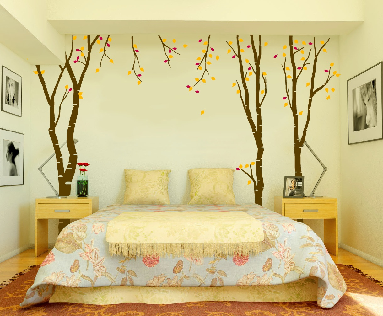 Large wall birch tree decal forest kids vinyl sticker for Bedroom wall decor