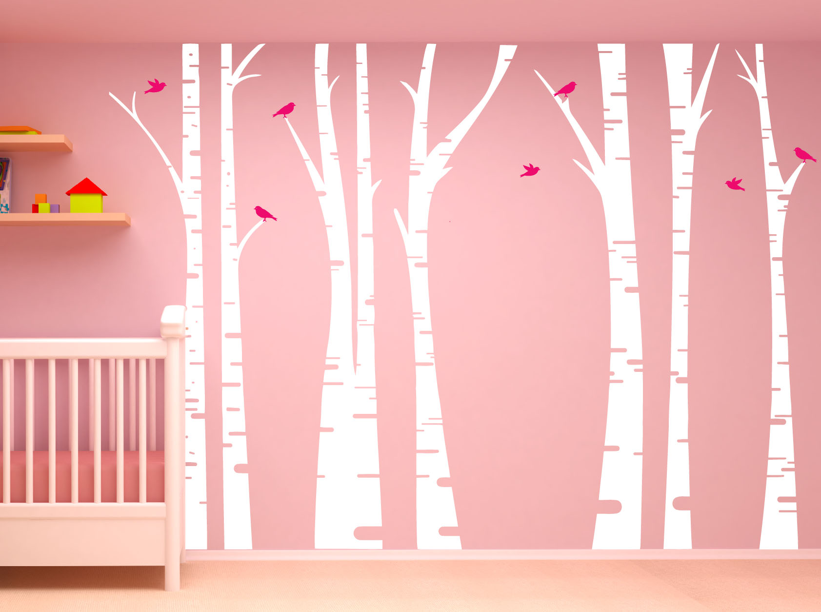Birch tree forest set vinyl wall decal birds 1295 birch tree wall decalg amipublicfo Choice Image