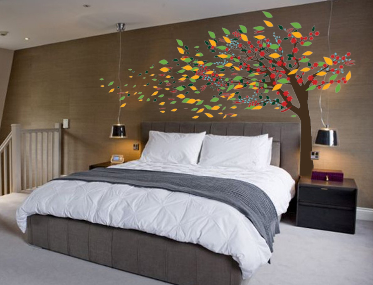 Blowing tree cherry blossom decal 1181 innovativestencils for Bedroom ideas uk