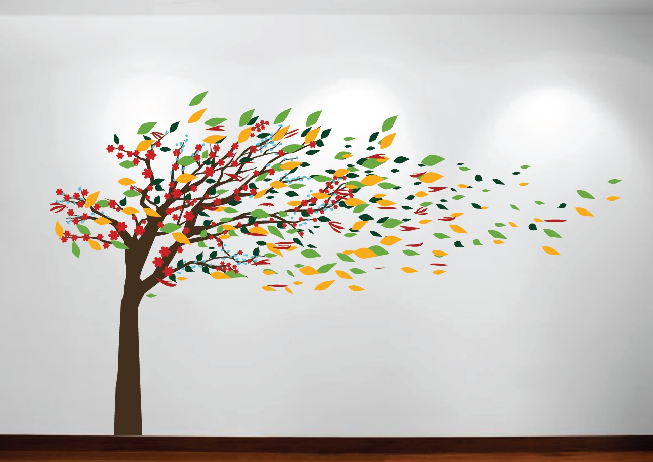 Blowing Tree Wall Decal 1181