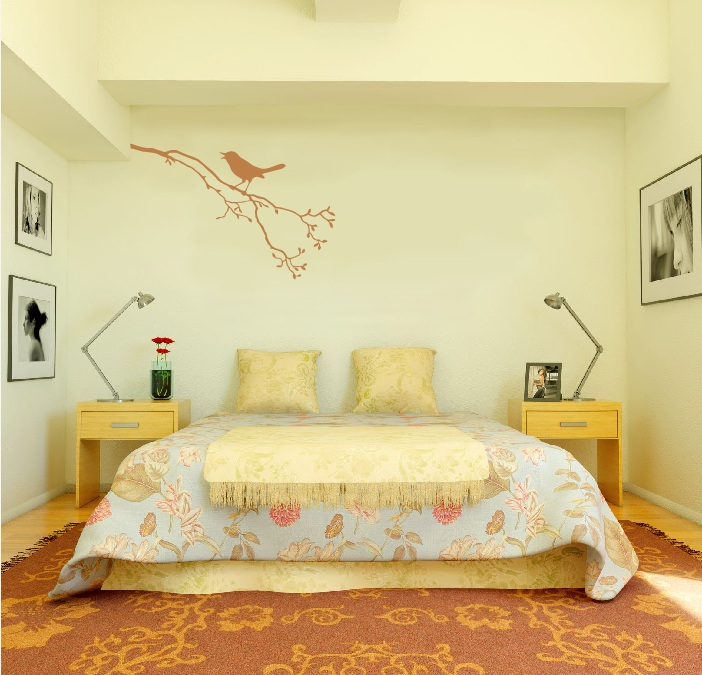 Large wall tree branch nursery decal with bird on branch for Birdcage bedroom ideas