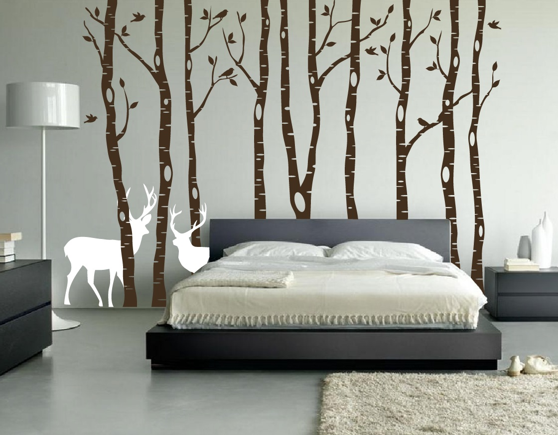 Brown Birch Tree Forest Decal With Snow And
