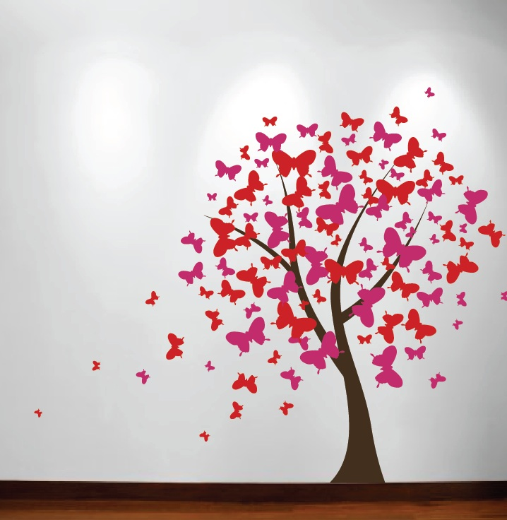 Butterfly Blossom Tree Wall Decal 1140