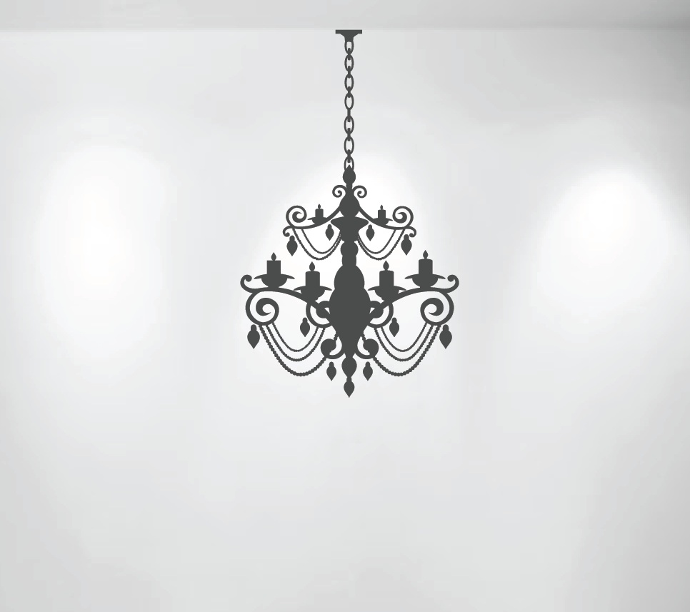 Chandelier wall decal with extra chain 1155 innovativestencils chandelier wall decal 1155g mozeypictures Images