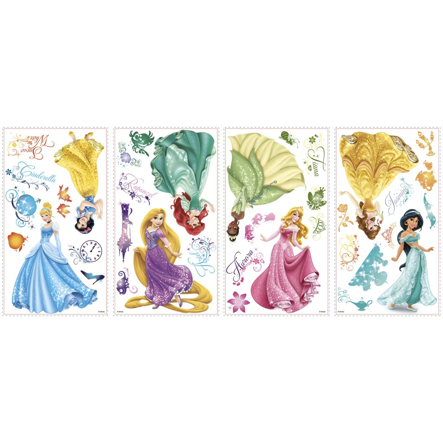Disney Princess Decals Wall Glitter
