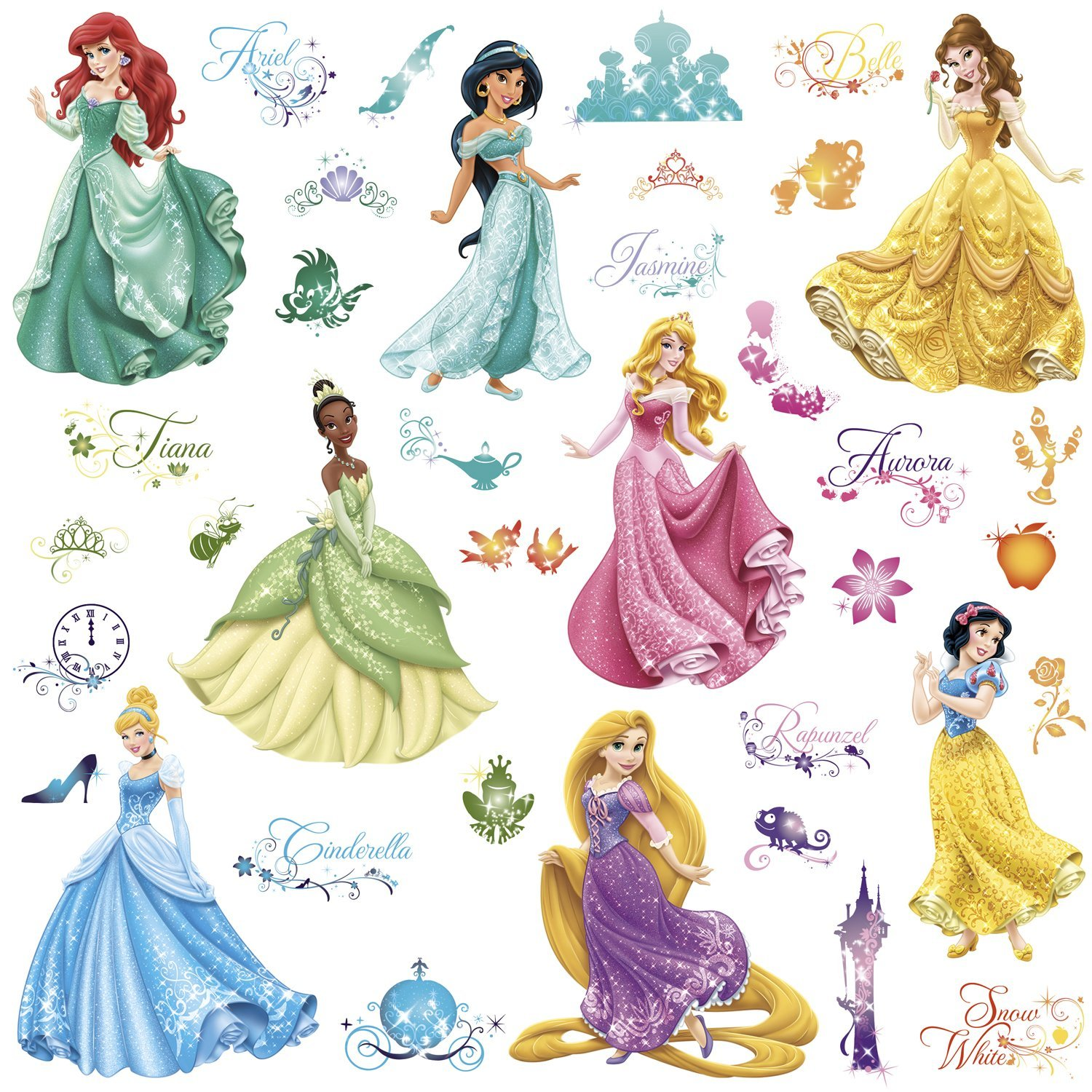 Disney princess royal debut peel and stick wall decals for Disney princess wall mural stickers