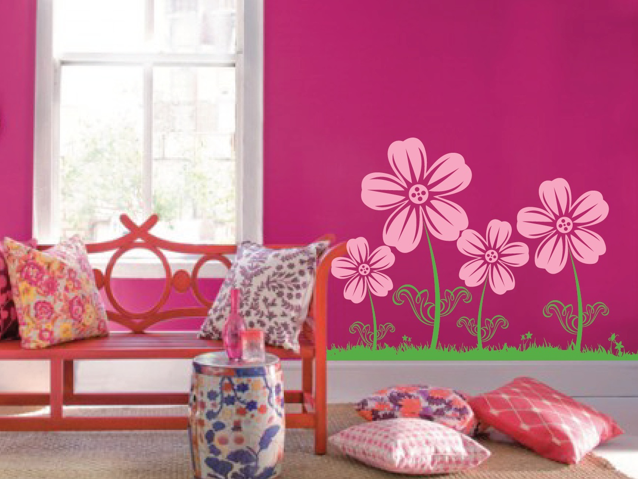 Flower Floral Wall Decal For Girls Room With
