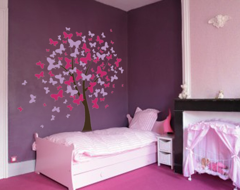 Butterfly tree nursery wall decal 1140 innovativestencils for Butterfly themed bedroom ideas
