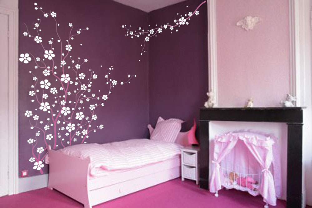 Large wall tree nursery decal japanese magnolia cherry blossom flowers branch 1121 for Chambre de petite fille